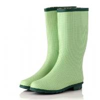 China summer's grass green dot line print high rubber rain boots with buckle on the side on sale