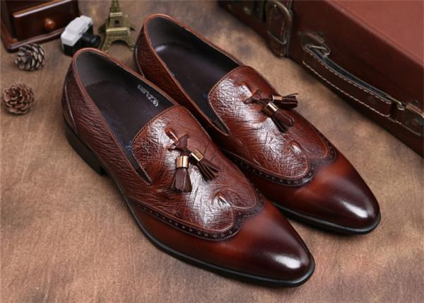 Quality Brogue Wingtips Toe Mens Slip On Tassel Shoes , Male Formal Shoes For Suits for sale
