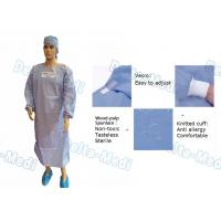 China Wood Pulp Spunlace Sterile Disposable Surgical Gown With Knitted Cuff on sale