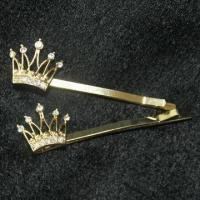 China Hair Clips, Comes in Crown Shape, with Gold Plating wholesale