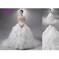 China Champange Casual Bridal Ball Gowns Tulle With Crystal Beads Floor Length 80-90 Cm wholesale