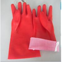 China PVC gloves,Full pvc dipped gloves,Open cuff, T/C lining,red color,size 14''and 18'' on sale