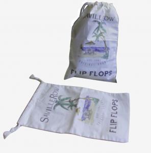 China Natrual Color Custom String Drawing Cotton Bag Heat Transfer Printing For Sandal wholesale
