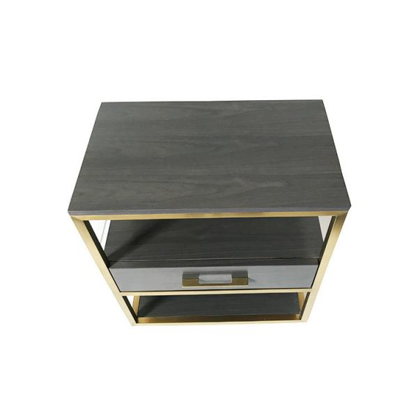 Quality Oak Wood Veneer 1 Drawer Small Bedroom Side Tables With Brass Metal Frame for sale
