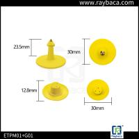 China Round Shape Pig Ear Tag Yellow Colour Small Size Custom Ear Tags For Goats on sale