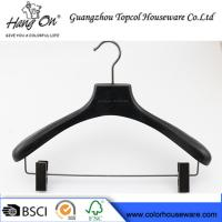 China ashtree wooden clothes hanger with gun black clips wholesale