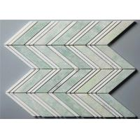 China Ming Green Stone Mosaic Floor Tile Chevron Shape Mosaics 4 Chips on sale