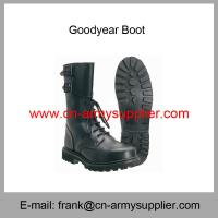 China Wholesale Cheap China Black Army Full Leather Military Goodyear Combat Boot on sale