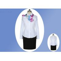 China White Fabric Professional Work Uniforms 100% Polyester Cotton With Single Breasted wholesale