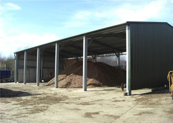 Quality Multi Purpose Steel Barn Structures For Rural With Open Sided Steel Sheet Clading for sale