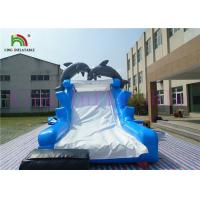 China Blue White Dolphin PVC Inflatable Dry Slide With Board Slide And CE Blower wholesale