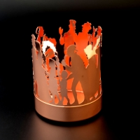 Customized Amber glass candle jar city pattern romantic matte gold candle holder