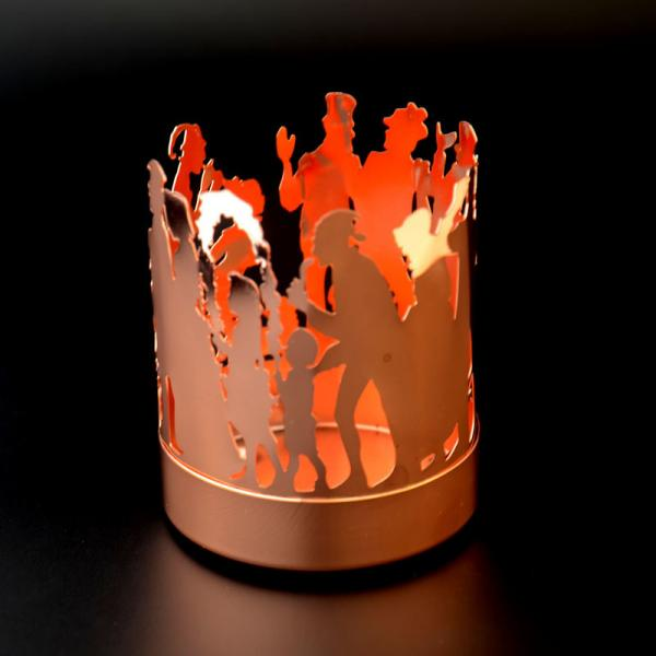 Quality Customized Amber glass candle jar city pattern romantic matte gold candle holder for sale