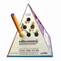 China Advertising Pop-up Pyramid Paper Pen Holder, Made of 500 Microns Box Board wholesale