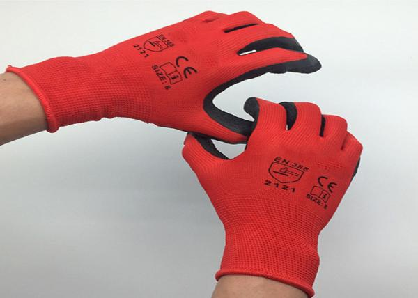 Quality Ultra Thin Latex Coated Work Gloves Crinkle Latex Coating Nylon Material for sale