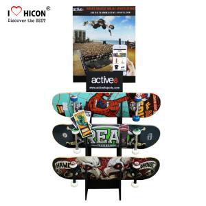 China Custom Logo Wooden Display Racks Floor Skateboard Rack Display For Retail Store on sale