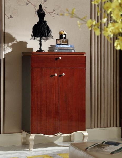 Quality Villa house Furniture Shoecase with drawers Ebony wood shoe cabinets for Hall furniture from China factory for sale
