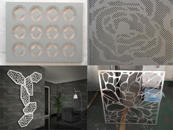 Metal aluminum decorative engraved perforated panel