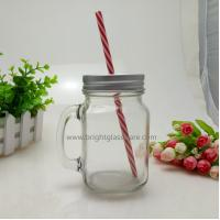 China 16oz Glass Mason Jar With Handle and Metal Lid in Straws wholesale
