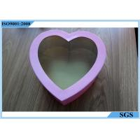 China Love Type Chocolate Candy Gift Boxes Pink Color With Transparent Film wholesale
