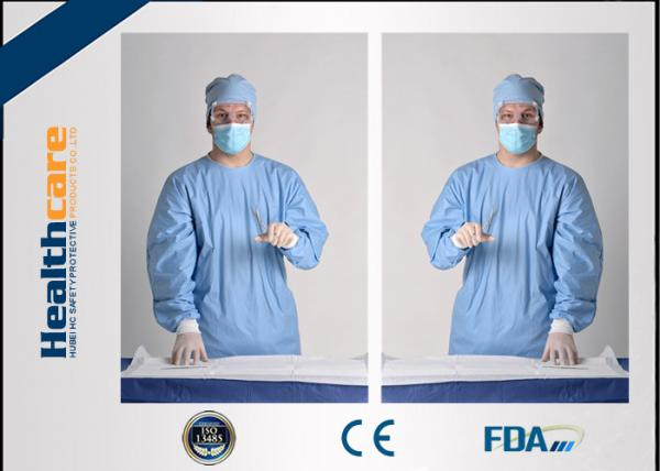 Quality SMS Sterile Disposable Surgical Gowns , PP PE Spunlace Disposable Operating Gowns  for sale