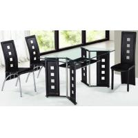 China rectangle glass with leather dining table and chairs wholesale