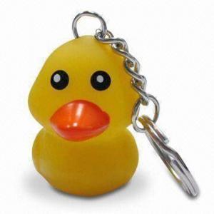 Flashing Duck Keychain, Promotional Keyring/Key Holder, Customized Logos, Designs Welcomed