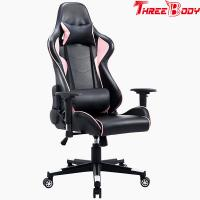 China High Back Black And Pink Gaming Chair , Swivels 360 Degrees Pu Leather Office Chair on sale