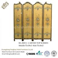 China Modern Foldable Screen Divider Pine Air Brush Plywood With Gold Foil Foldable Room Partitions wholesale