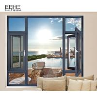 China Double Pane Aluminum Casement Windows With Mosquito Net Top Hung Open Style wholesale