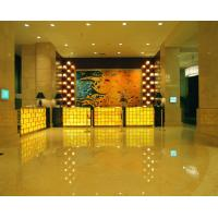 Luxury 5 Star Hotel Lobby Marble Reception Desk Wooden Metal Frame