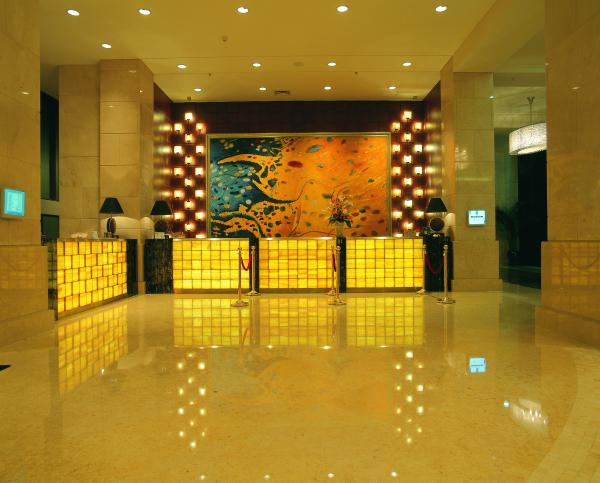 Quality Luxury 5 Star Hotel Lobby Marble Reception Desk Wooden Metal Frame for sale