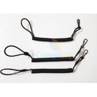 China High Strength Black Pistol Bungee Coil Lanyard For Duty Belt Loop 150MM Wire wholesale