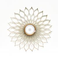 China 32 1/2 Sunburst flower shape metal frame wall mirror with centre convex mirror in gold on sale