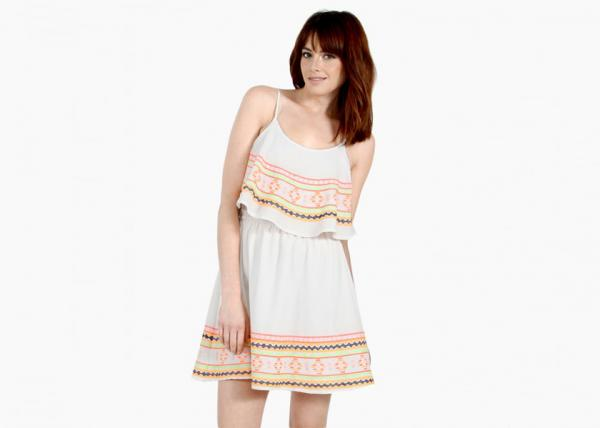 Quality Neon Embroidery White Layered Tank Dress Plus Size With Sleevesless for sale