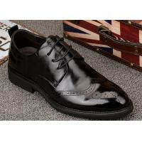 Quality Popular Mens Black Leather Formal Shoes , Wingtips Toe Mens Smart Dress Shoes for sale