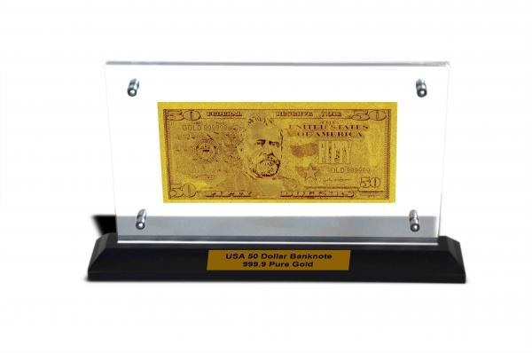 Quality Value Collection New USA $50 Gold Dollar Bill Plated Gold Foil In Acrylic Stand for sale