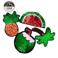 China Summer Fuirt Flip Sequin Patch Washable Sew / Iron Backing For Kids Clothing wholesale