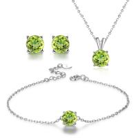 China 925 Silver Natural Stone Jewelry Set Women's Chain Necklace Bracelet Earrings wholesale