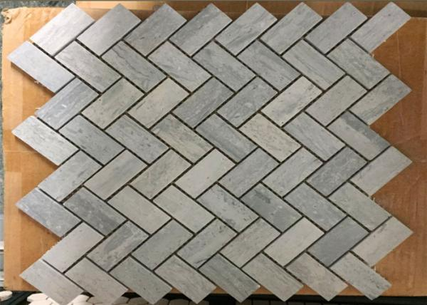 """Quality Blue Wooden Marble Herringbone Tile Backsplash For Wall Cladding , 1"""" X 2"""" Size for sale"""