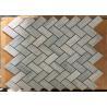 "China Blue Wooden Marble Herringbone Tile Backsplash For Wall Cladding , 1"" X 2"" Size wholesale"