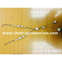 China 18 Plastic Beaded Pearl Necklace / Round Silver , White Bead Necklace wholesale