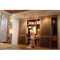 China Wooden Melamine Wardrobe closet sliding doors Modern Leather wholesale