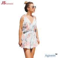 China Fashionable Custom Short Sleeve Jumpsuit Deep V Neck For Summer Beach on sale