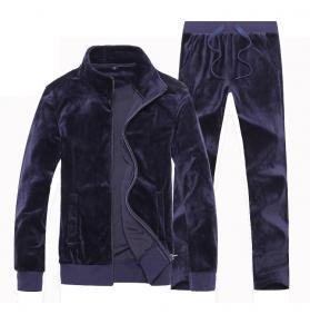 China Softer Velour Mens Velvet Tracksuit Set Custom Plain Sportswear Breathable wholesale