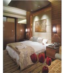 China Modern Hotel Bedroom Design King Standard Room Furniture bed and Vanity Cabinets SR-012 wholesale