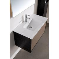 China Modern 80 cm PVC mirrored Ceramic Countertop bathroom vanity base cabinet with Wash Basin wholesale