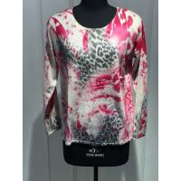 China Ladies Long Sleeve Cashmere Crew Neck Sweaters With Flower Screen Printing 12gg Knitted on sale