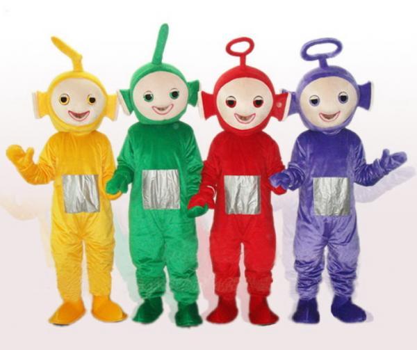 teletubby costume mascot,long plush mascot character,tele baby
