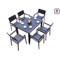 Buy cheap 1 By 4 / 6 Outdoor Restaurant Tables Sets Plastic Wood Metal Frame Patio Dining from wholesalers